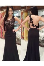 Scoop Lace Black Backless Evening Dress Appliques Sleeveless With Brush Train