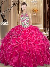 Cheap Scoop Floor Length Ball Gowns Sleeveless Hot Pink Sweet 16 Dresses Backless