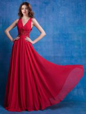 Hot Sale Red Sleeveless Floor Length Appliques Backless Prom Gown
