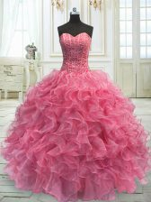 Free and Easy Floor Length Ball Gowns Sleeveless Rose Pink 15 Quinceanera Dress Lace Up