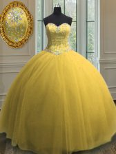 Gold Lace Up Sweetheart Beading and Sequins Vestidos de Quinceanera Tulle Sleeveless