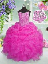 Beading and Ruffles and Pick Ups Kids Formal Wear Baby Pink Lace Up Sleeveless Floor Length