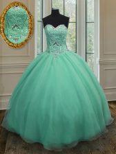Cheap Apple Green Organza Lace Up Sweetheart Sleeveless Floor Length Vestidos de Quinceanera Beading