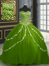 Ideal Olive Green Lace Up Ball Gown Prom Dress Beading and Appliques Sleeveless With Brush Train