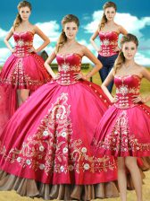 Four Piece Hot Pink Taffeta Lace Up Sweetheart Sleeveless Floor Length Quinceanera Gowns Beading and Embroidery