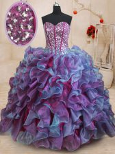 Colorful Floor Length Multi-color Vestidos de Quinceanera Organza Sleeveless Ruffles and Sequins