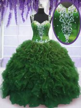 Floor Length Green 15 Quinceanera Dress Straps Sleeveless Zipper