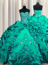 Modern Sequins Sweetheart Sleeveless Taffeta Ball Gown Prom Dress Beading and Embroidery and Ruffles and Pick Ups Lace Up