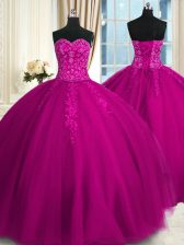 Sweetheart Sleeveless Lace Up Quinceanera Gowns Fuchsia Tulle