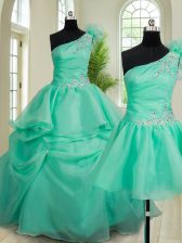Most Popular Three Piece One Shoulder Sleeveless Quinceanera Gown Floor Length Beading and Hand Made Flower Turquoise Organza