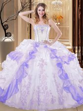Organza Sleeveless Floor Length Vestidos de Quinceanera and Embroidery and Ruffled Layers