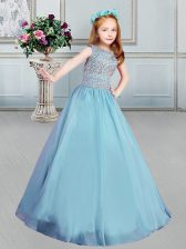 Blue Ball Gowns Organza Bateau Sleeveless Beading Floor Length Lace Up Little Girl Pageant Gowns