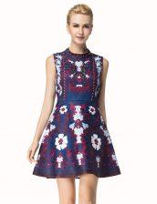Delicate Scoop Multi-color A-line Beading Evening Dress Zipper Satin Sleeveless Mini Length