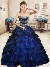 Pick Ups Ruffled Floor Length Navy Blue Ball Gown Prom Dress Sweetheart Sleeveless Lace Up