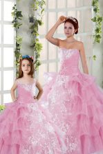 Floor Length Rose Pink Ball Gown Prom Dress Organza Sleeveless Beading and Ruffled Layers and Ruching