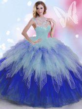 Cheap Multi-color Ball Gowns Tulle High-neck Sleeveless Beading and Ruffles Floor Length Zipper 15th Birthday Dress