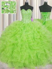 Comfortable Visible Boning Sweetheart Sleeveless Lace Up Quinceanera Dresses Organza