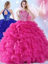 Free and Easy Halter Top Floor Length Ball Gowns Sleeveless Hot Pink Quinceanera Gowns Lace Up