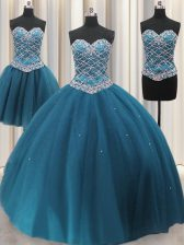 Luxury Three Piece Teal Ball Gowns Sweetheart Sleeveless Tulle Floor Length Lace Up Beading and Ruffles 15 Quinceanera Dress