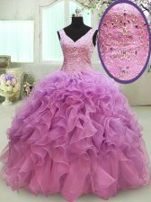 Floor Length Lace Up Quinceanera Dress Lilac for Military Ball and Sweet 16 and Quinceanera with Beading and Ruffles