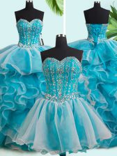Suitable Three Piece White Sweetheart Neckline Beading and Ruffles Quince Ball Gowns Sleeveless Lace Up