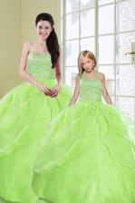 Dazzling Sequins Sleeveless Organza Lace Up Quinceanera Gown for Military Ball and Sweet 16 and Quinceanera