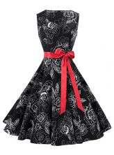 Scoop Knee Length Zipper Prom Evening Gown Black for Prom and Party with Sashes ribbons and Pattern
