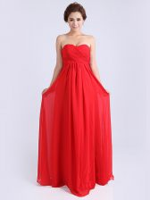 Exquisite Red Chiffon Zipper Sweetheart Sleeveless Floor Length Prom Evening Gown Ruching