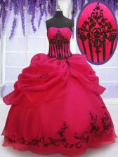 Best Selling Pick Ups Embroidery Floor Length Ball Gowns Sleeveless Coral Red Sweet 16 Dresses Lace Up