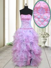Glittering Beading and Ruffles Prom Party Dress Multi-color Lace Up Sleeveless Floor Length