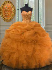 Orange Sweetheart Neckline Beading and Ruffles and Pick Ups Sweet 16 Dresses Sleeveless Lace Up