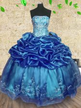 Pretty Floor Length Teal Sweet 16 Quinceanera Dress Organza Sleeveless Beading and Embroidery and Ruffles
