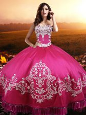 Luxury Sweetheart Sleeveless Taffeta Quinceanera Dress Beading and Embroidery Lace Up