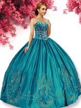 Exquisite Sleeveless Lace Up Floor Length Embroidery Quinceanera Gown