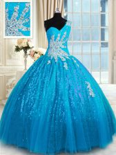 Beauteous Baby Blue Sweet 16 Dresses Military Ball and Sweet 16 and Quinceanera with Appliques One Shoulder Sleeveless Lace Up