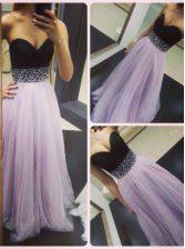 Exquisite Lavender Tulle Zipper Prom Gown Sleeveless Floor Length Beading