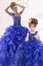 Excellent One Shoulder Sleeveless Beading and Ruffles Lace Up Sweet 16 Quinceanera Dress