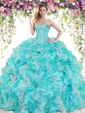 Dynamic Sleeveless Floor Length Beading and Ruffles Lace Up 15th Birthday Dress with Blue And White
