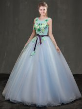 Edgy Scoop Sleeveless Quince Ball Gowns Floor Length Appliques Light Blue Organza