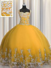Sleeveless Lace Up Floor Length Beading and Appliques 15 Quinceanera Dress