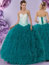 High Class Teal Sleeveless Tulle Lace Up Quinceanera Gown for Military Ball and Sweet 16 and Quinceanera