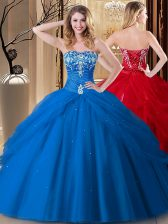 High Quality Sleeveless Lace Up Floor Length Embroidery 15th Birthday Dress