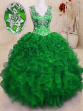 Green Sleeveless Beading and Embroidery and Ruffles Floor Length 15th Birthday Dress