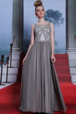 Classical Scoop Grey Sleeveless Chiffon Side Zipper for Prom and Party