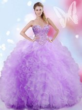 Lavender Lace Up Sweetheart Beading and Ruffles Quince Ball Gowns Tulle Sleeveless