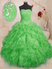 High End Floor Length 15 Quinceanera Dress Organza Sleeveless Beading and Ruffles and Ruching