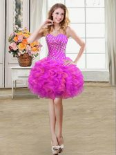 Nice Organza Sleeveless Mini Length and Beading and Ruffles