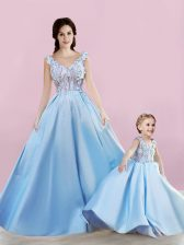 Cute Baby Blue Lace Up Appliques Evening Dress Satin Sleeveless