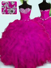 Fuchsia Organza Lace Up Vestidos de Quinceanera Sleeveless Floor Length Beading and Ruffles