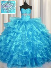 Ruffled Layers Baby Blue Sleeveless Organza Lace Up Quinceanera Gowns for Military Ball and Sweet 16 and Quinceanera